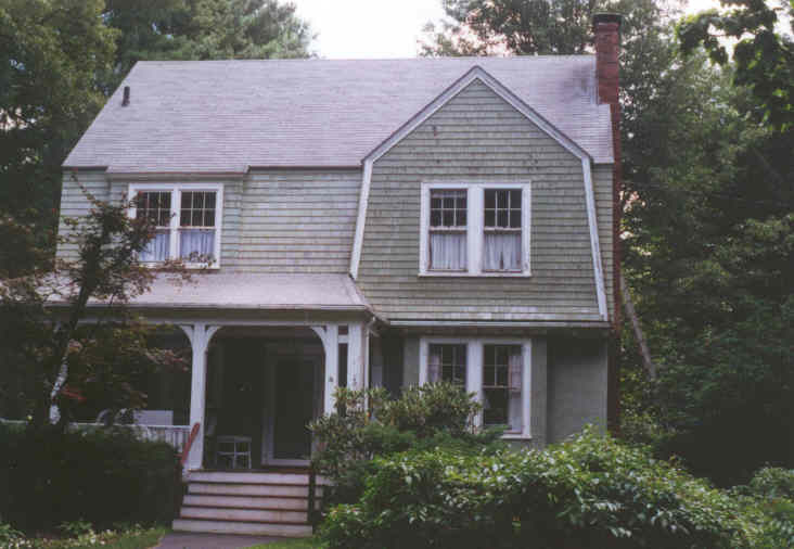 A Shingle style house with cedar shingles